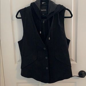 Black vest with sweater hoodie